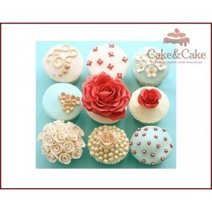 Cupcake `Tiffany&Red`